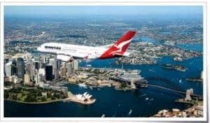 Qantas Flying over the Sydney Opera House