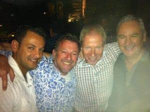 Carlos, David Reidy, Jerry and Mr Rigg - at the Clock pub, Sydney, with Henrik, Kate & Leigh Sorrenson